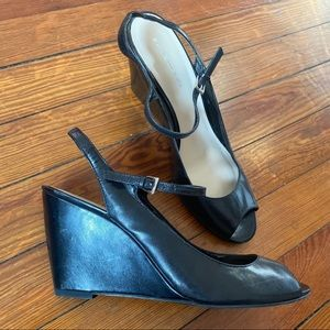 Bandolino Genuine Leather Black Wedge Shoes Size 9